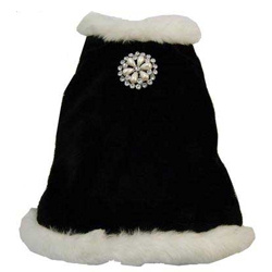 Black Velvet with White Fur & Brosch