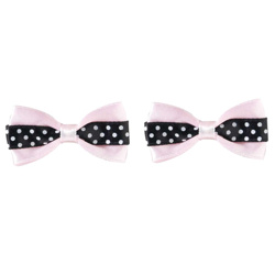 Polka Dot Bows - Pink/Black