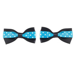 Polka Dot Bows - Black/Blue