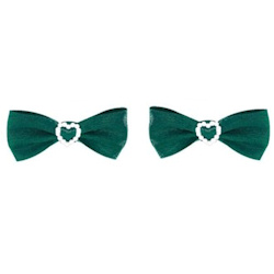 Pearl Heart Bows - Green 2-pack