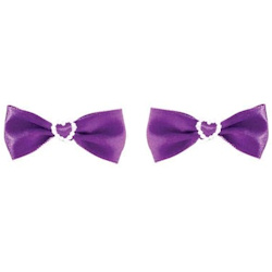 Pearl Heart Bows - Purple - 2-pack