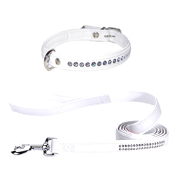 Luxury White Collar & Leash Set