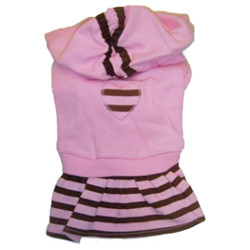 Hood Dress - Pink with brown stripes
