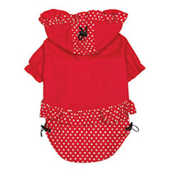 POLKA DOT HOOD RAIN JACKET - RED (ESC)
