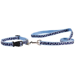Snowflake Collar & Leash set - Blue