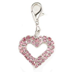 Crystal Heart Charm - Large - Pink