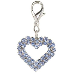 Crystal Heart Charm - Large - Blue