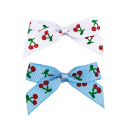 Cherry Bows - Blue & White