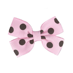 Polka Dot Bows - Pink/Brown