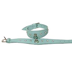 Leather Rhinestones Collar - Blue with Rhinestones