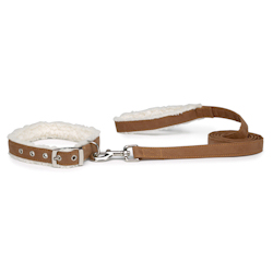 SHERPA COLLAR & LEASH SET - COGNAC (ESC)