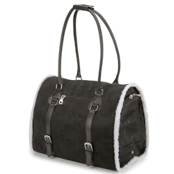 Suede/Sherpa Carrier - Black