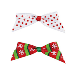 Christmas Bows  Set - Red & White