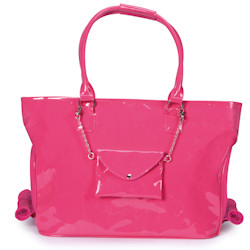 Patent Carrier with purse - Hot Pink