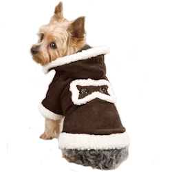 Sherpa/Suede Coat with hood  - Chocolate Brown