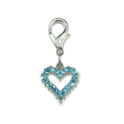 Crystal Heart Charm - Small - Blue