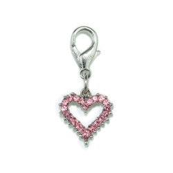 Crystal Heart Charm - Small - Pink