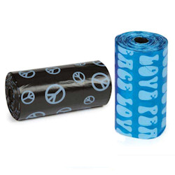 PEACE & LOVE Poop Bags - Blue & Black (2 rolls)