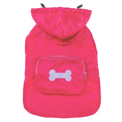 Fleece-Lined Pocket Rain Coat - Hot Pink