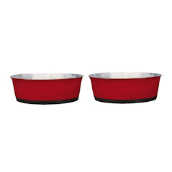 Heavy Bottom Stainless Bowls set - Röd