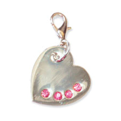Shiny Silver Heart Charm - Pink Stones