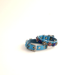 Leather Collar with Flower Charm - Blue