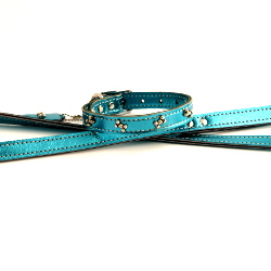 METALLIC LEASH - BLUE ()