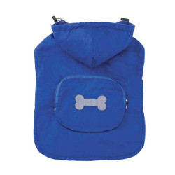 FLEECE-LINED POCKET RAIN COAT - BLUE (Casual Canine)