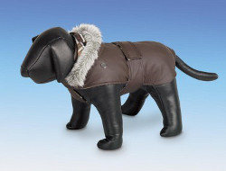 Dog Coat with Belt - Brown
