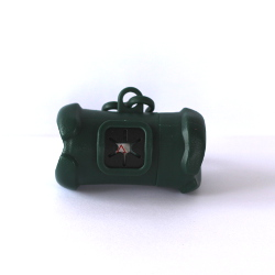 Bone Shaped Holder with Poop Bags - Dark Green