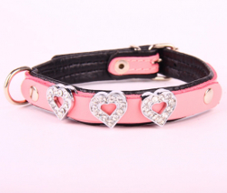 Leather Collar with Heart Rhinestones - Pink