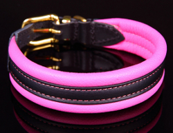 SUPERIOR LEATHER COLLAR PLUS - HOT PINK ()