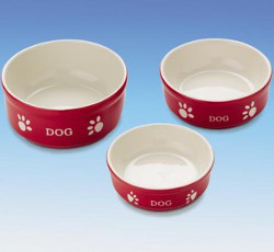 DOG BOWLS SET - RED (Nobby)