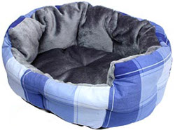 Checkered Dog Bed - Blue