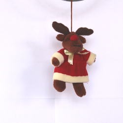 Christmas Moose with Santa Clothes - Brown