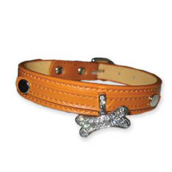 LEATHER COLLAR FOR CHARM LETTERS - BROWN (DOGO)