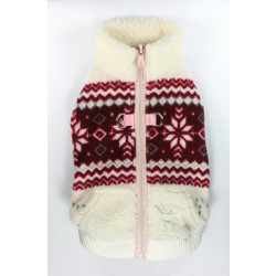 Soft Snowflake Fleece Vest - White/Red