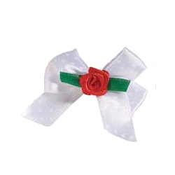 Rose Bow White & Red Rose