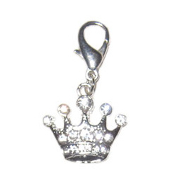 Charm Silver Crown - Clear stones